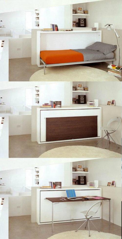 ahorrar espacio cama escritorio