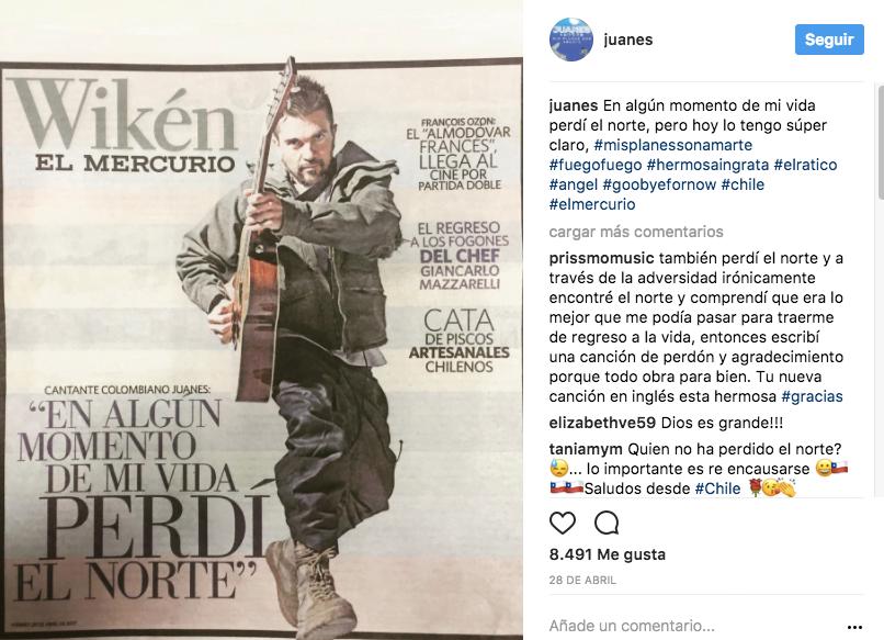 Entrevista a Juanes en El Mercurio