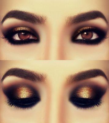 Maquillaje para vestido dorado noche