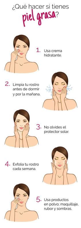 Maquillaje para piel grasa infografía